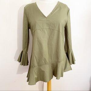 KAKTUS bell sleeve asymmetrical ruffle blouse M